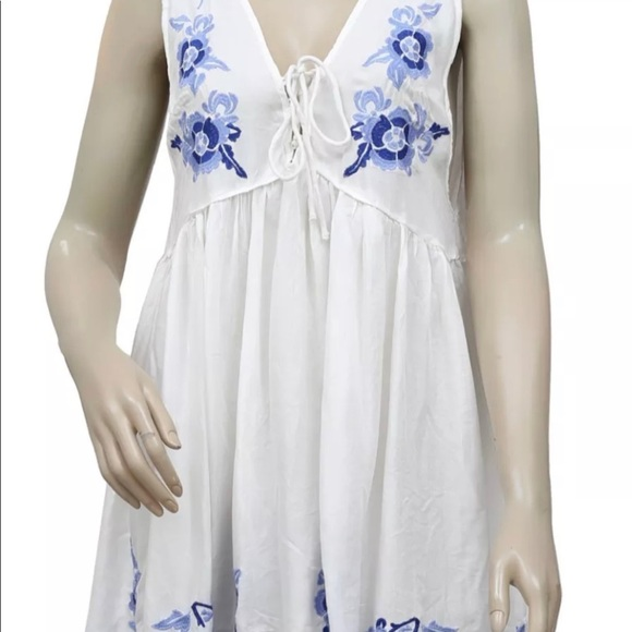 Free People Dresses & Skirts - Free People 'Aida' White Embroidered Swing Dress